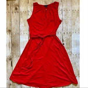 Land's End red sleeveless mid length tie dress